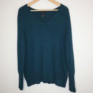Lane Bryant Heathered Blue V-Neck Sweater |18/20